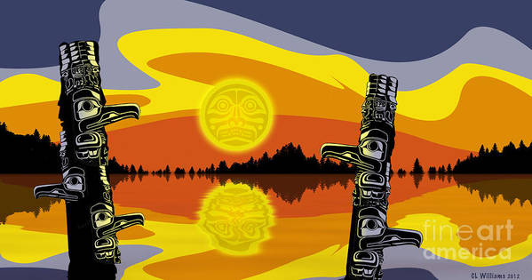 Haida Poster featuring the digital art Haida Sunset by Christopher Williams