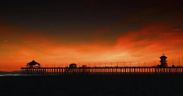 Colen Gereffi Poster featuring the photograph Huntington Beach Pier by DRK Studios