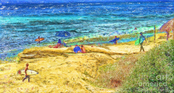 la Jolla Surfers Poster featuring the mixed media La Jolla Surfing by Marilyn Sholin