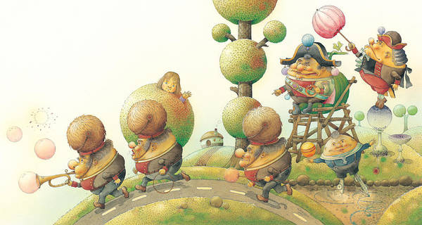 Green Lanscape King Poster featuring the painting Lisas Journey05 by Kestutis Kasparavicius