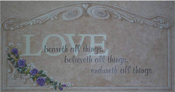 Scripture Poster featuring the painting Love by Sandra Poirier