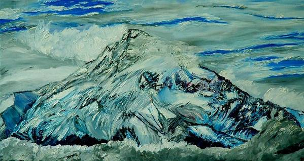 Mountain Poster featuring the painting Mount Hood by Gregory Allen Page
