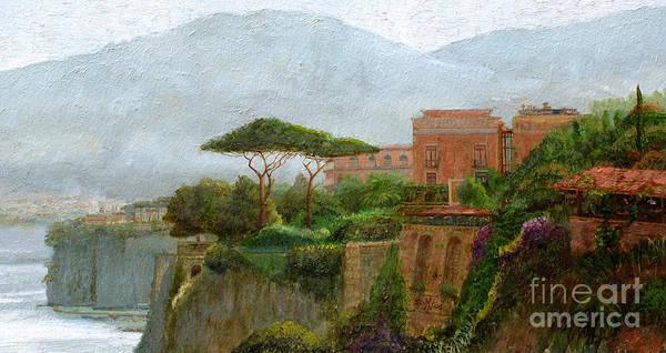 Amalfi Coast; Coastal; Landscape; Italian; Italy; Mountain; Mountains; Tree; Trees; Sorrento; Albergo Poster featuring the painting Sorrento Albergo by Trevor Neal