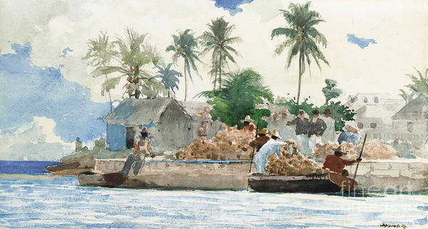 Boat Poster featuring the painting Sponge Fisherman In The Bahama by Winslow Homer