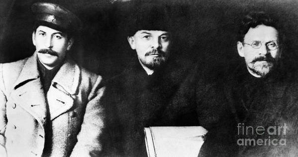 1919 Poster featuring the photograph Stalin, Lenin & Trotsky by Granger