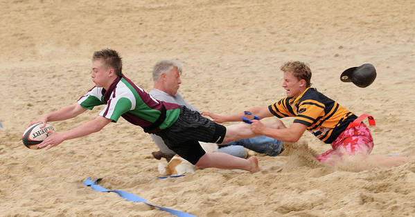 Rugby Poster featuring the photograph Tag Beach Rugby Competition by David Hollingworth