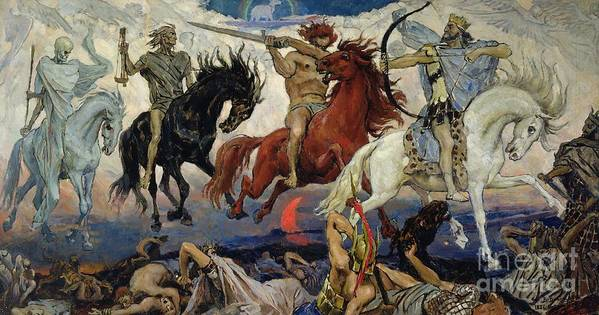 The Poster featuring the painting The Four Horsemen Of The Apocalypse by Victor Mikhailovich Vasnetsov