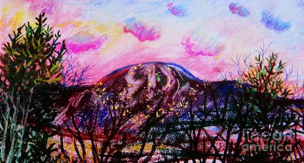 Wachusett Poster featuring the pastel Wachusett Pastel Sunset by Emily Michaud