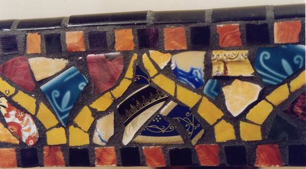 Mosaic Table Top Poster featuring the ceramic art Mosaic Table Top by Charles Lucas