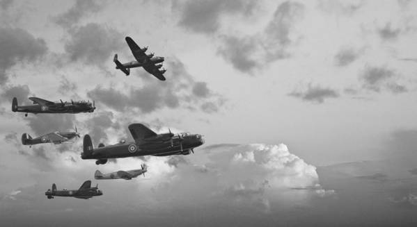 Lancaster Poster featuring the photograph Black And White Retro Image Of Batttle Of Britain Ww2 Airplanes by Matthew Gibson