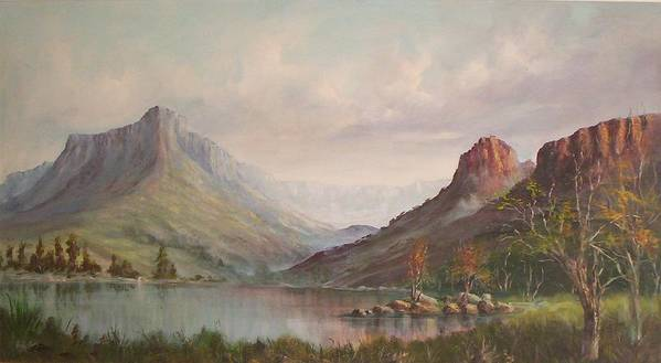 Mountains Poster featuring the painting By The Riverside by Rita Palm