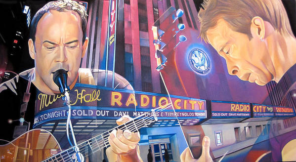 Dave Matthews Poster featuring the drawing Dave Matthews And Tim Reynolds At Radio City by Joshua Morton
