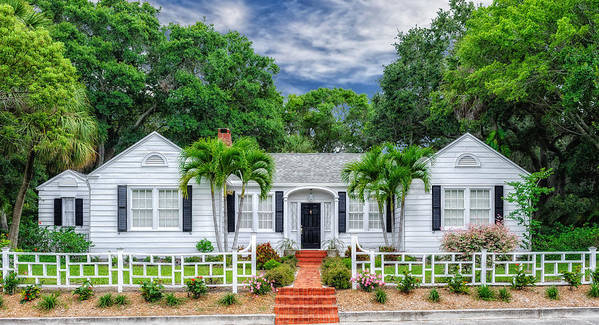 Frank J Benz Poster featuring the photograph Beautiful 1940 South Florida Home by Frank J Benz