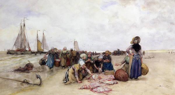 Beach Poster featuring the painting Fish Sale On The Beach by Bernardus Johannes Blommers