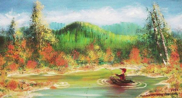 Man Poster featuring the painting Fishing by Suzanne Marie Leclair