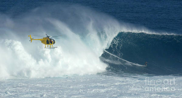 Laird Hamilton Poster featuring the photograph Laird Hamilton Going Left At Jaws by Bob Christopher