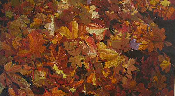 Fall Poster featuring the painting Last Fall In Monroe by Thu Nguyen