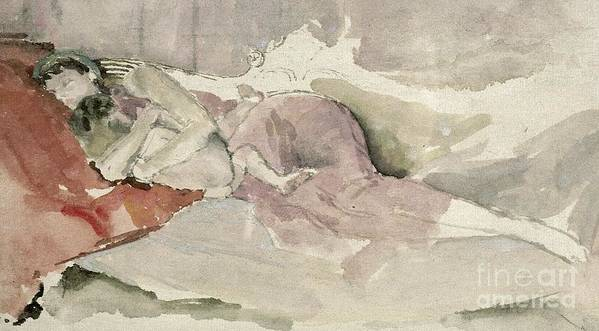 Watercolour Poster featuring the painting Mother And Child On A Couch by James Abbott McNeill Whistler