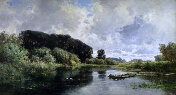 Carlos De Haes Poster featuring the painting Near Friesland by Carlos de Haes