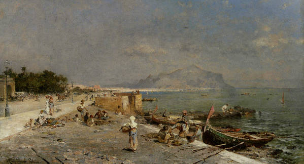 Franz Richard Unterberger Poster featuring the digital art On The Waterfront At Palermo by Franz Richard Unterberger