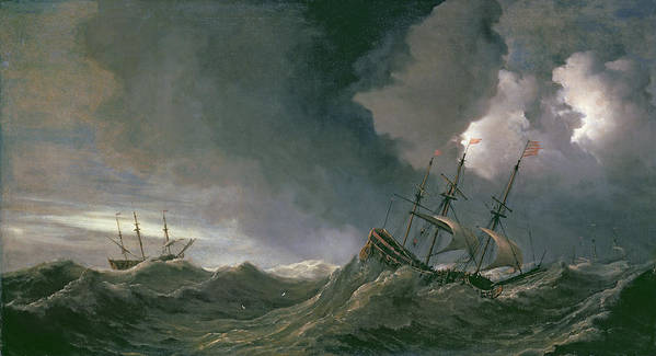 Ships Poster featuring the painting Storm At Sea by Willem van de II, Velde