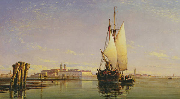 Lagoon Poster featuring the painting The Euganean Hills And The Laguna Of Venice - Trabaccola Waiting For The Tide Sunset by Edward William Cooke