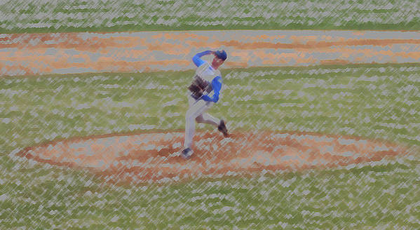 Sports Poster featuring the digital art The Pitcher Digital Art by Thomas Woolworth