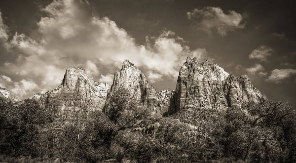 Sepia Poster featuring the photograph Zion Court Of The Patriarchs In Sepia by Tammy Wetzel