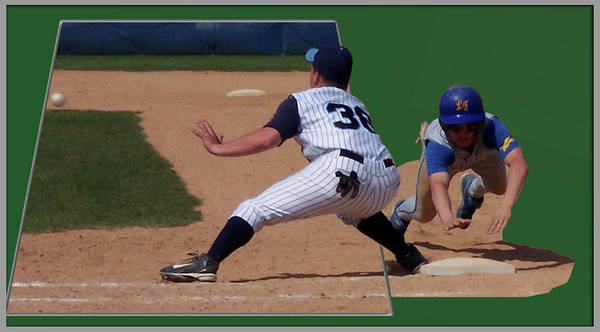 Sports Poster featuring the photograph Baseball Pick Off Attempt 02 by Thomas Woolworth