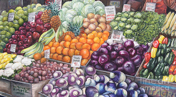 Watercolor Poster featuring the painting Farmers Market by Nancy Pahl