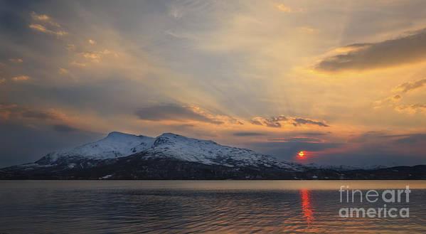 Midnight Sun Poster featuring the photograph Midnight Sun Over Tjeldsundet Strait by Arild Heitmann