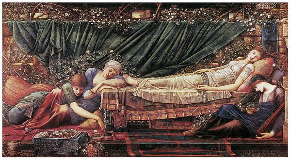 Edward Burne-jones Poster featuring the painting The Briar Rose The Rose Bower by Edward Burne-Jones