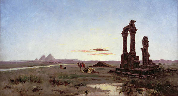 Bedouin Poster featuring the painting A Bedouin Encampment By A Ruined Temple by Alexandre Gabriel Decamps