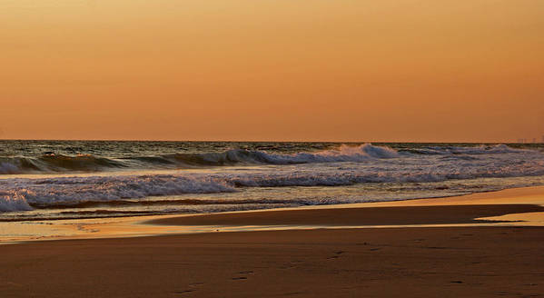 Beach Poster featuring the photograph After A Sunset by Sandy Keeton