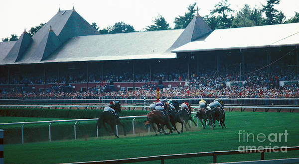 Saratoga Racetrack Poster featuring the photograph Around The Turn by Marc Bittan