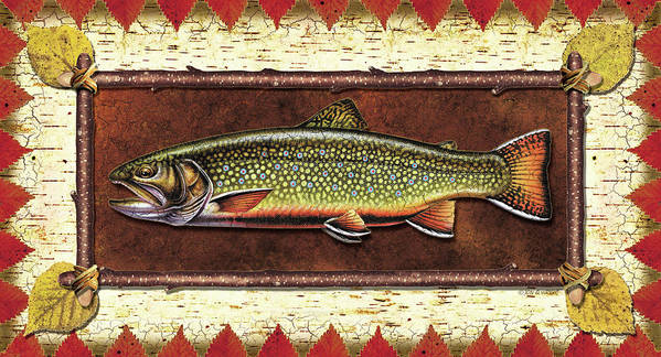 Trout Poster featuring the painting Brook Trout Lodge by JQ Licensing