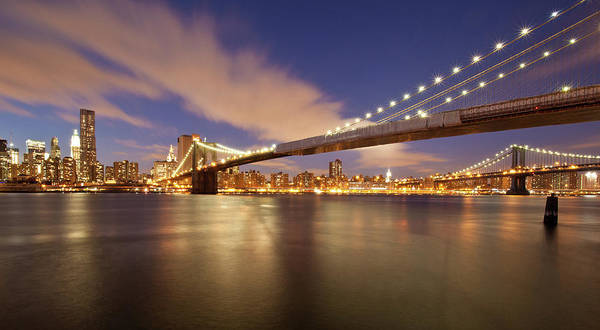 Horizontal Poster featuring the photograph Brooklyn Bridge And Manhattan At Night by J. Andruckow