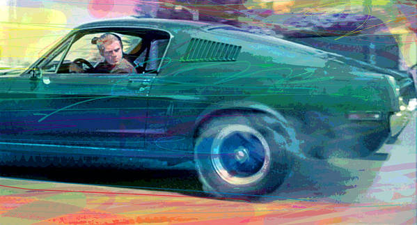 1968 Mustang Poster featuring the painting Bullitt Mustang by David Lloyd Glover