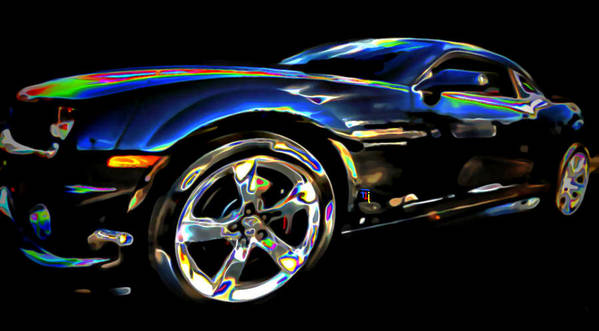 Tires; Bumpers; Grills; Lights; Doors; Blue; White; Gray; Black; Windows; Wheels; Transportations; Automobiles; Autos; Rims; Green; Red Poster featuring the digital art Camaro by Fli Art