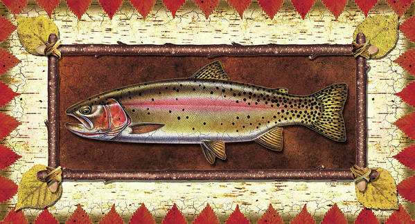 Trout Poster featuring the painting Cutthroat Trout Lodge by JQ Licensing