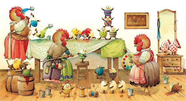 Eggs Easter Poster featuring the painting Eggs Dyeing by Kestutis Kasparavicius