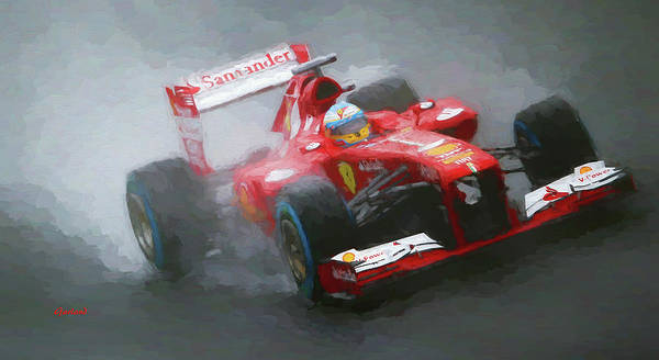 Formula One Racing Poster featuring the mixed media Formula One Burning The Track by Garland Johnson