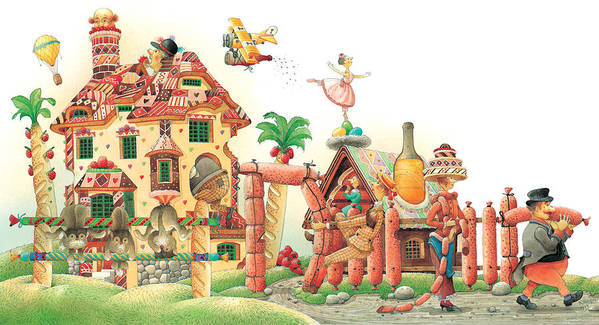 Food Lanscape Kitchen Poster featuring the painting Lazinessland04 by Kestutis Kasparavicius