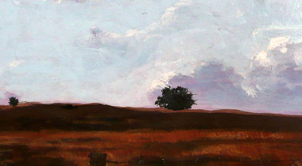 Landscape Poster featuring the painting Lone Oak by Jill Iversen