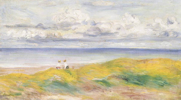 Impressionist; Impressionism; Sea; Ocean; Clifftop; Sky; View; Female; Grass Poster featuring the painting On The Cliffs by Pierre Auguste Renoir