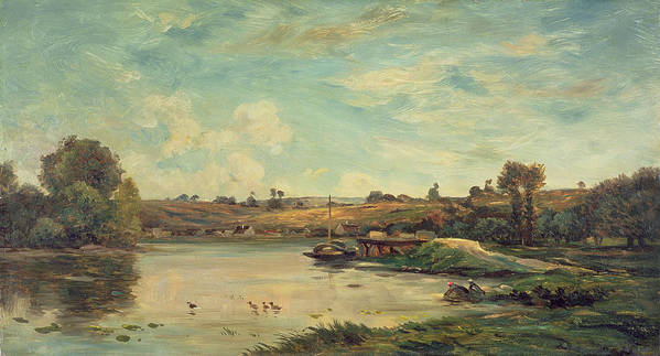 The Poster featuring the painting On The Loire by Charles Francois Daubigny