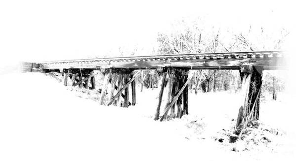 Rail Road Tracks Black And White Poster featuring the digital art Rail Road Bridge In Winter 1 by James Granberry