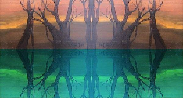 Evening Poster featuring the digital art Spiegelungen by Amrei Al-Tobaishi-Jarosch