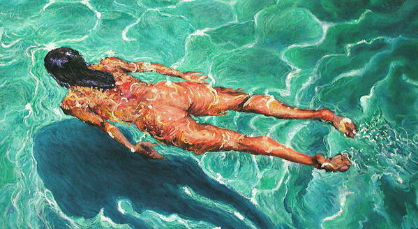 Swimmer Poster featuring the painting Swimmer 21 by Paul Sierra