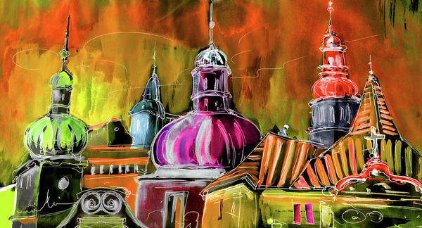 Travel Sketch Poster featuring the painting The Magical Rooftops Of Prague 01 by Miki De Goodaboom